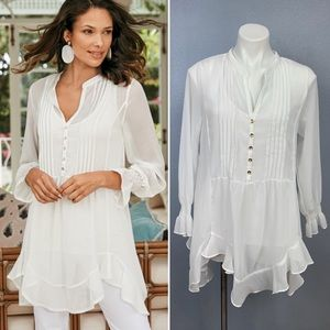 Soft Surroundings Edie white chiffon Tunic & Cami
